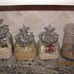 Place jars on your kitchen counter and fill with flour, sugar, etc.