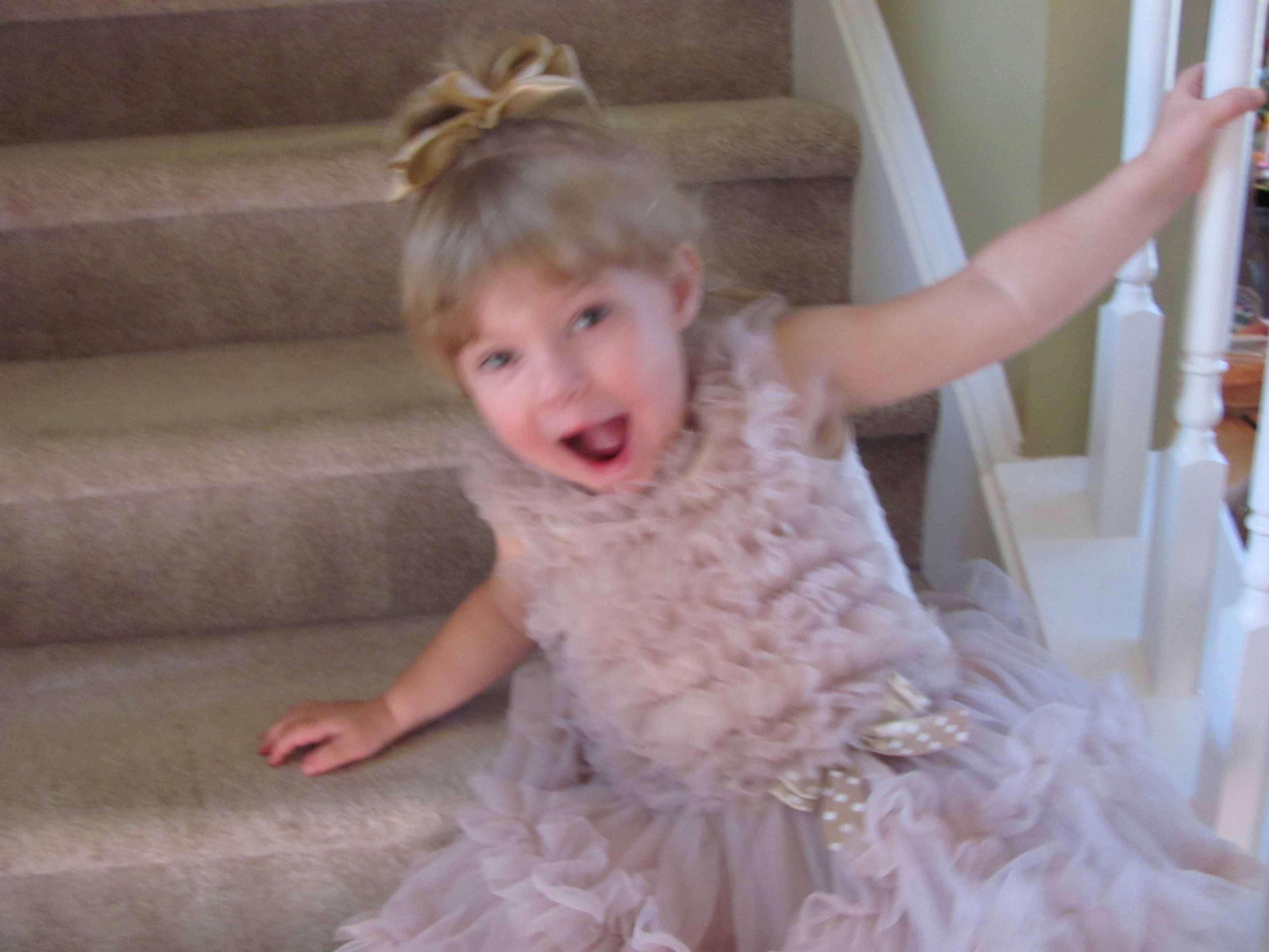 Oh My - My daughter falling down the stairs - Still trying to strike a pose!