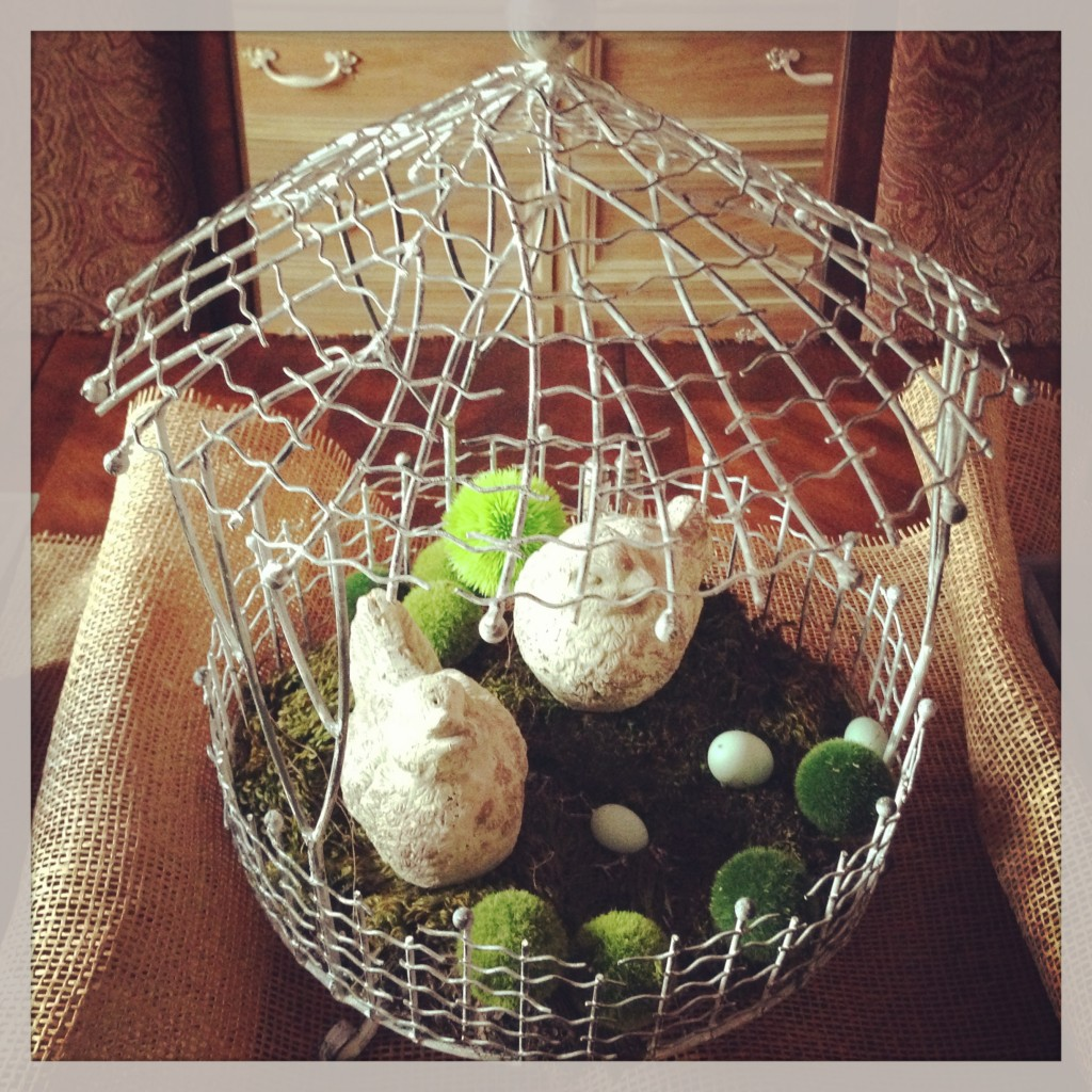 Cute little wired bird cages - You can put these on top of cake stands or over a small apothecary jar!