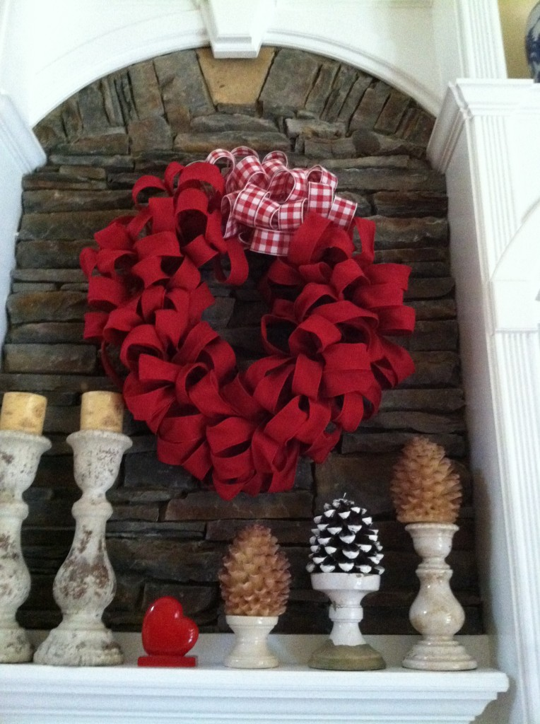 Oversized Red Burlap Wreath Valentines Day