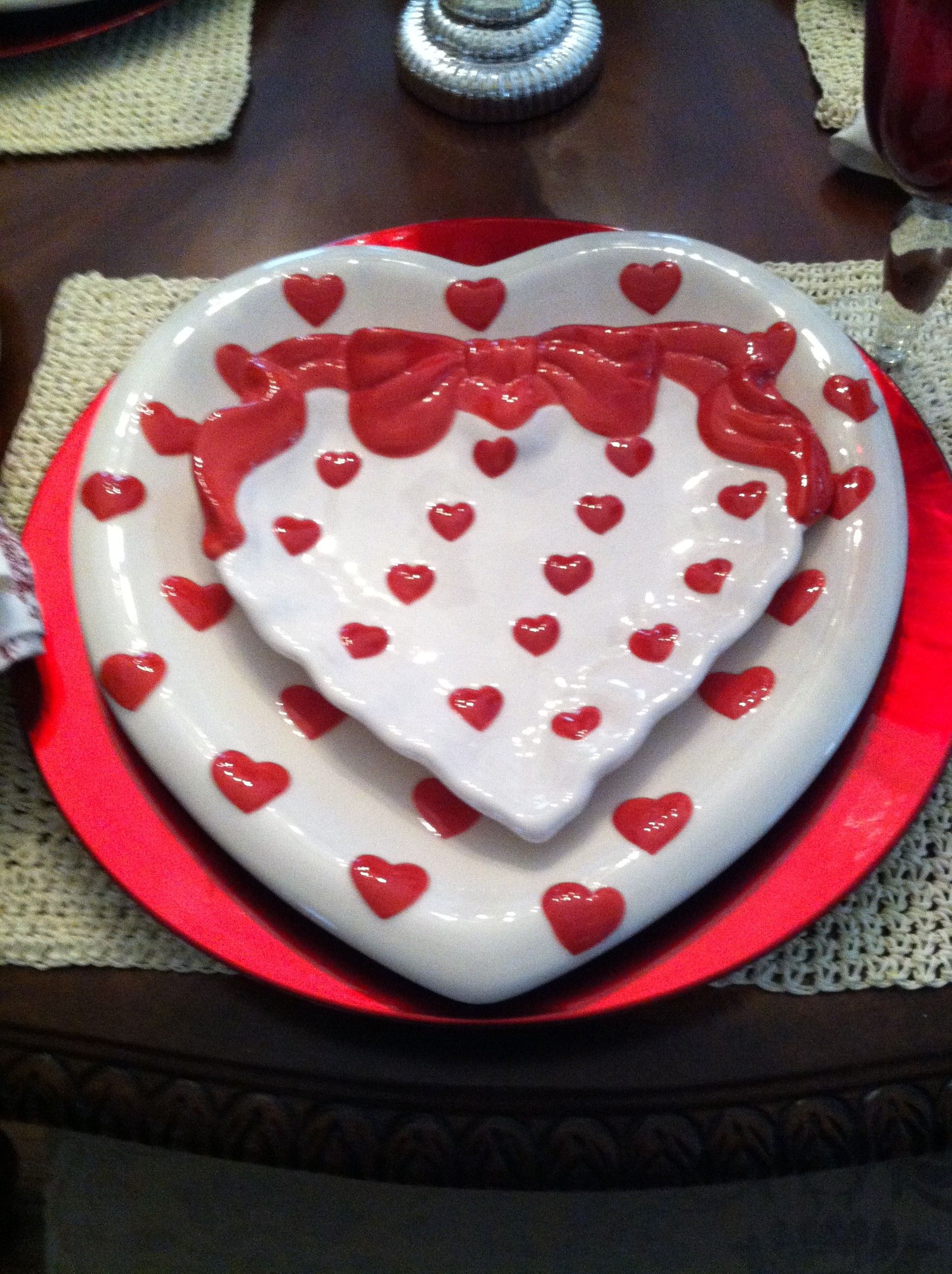 Red White Valentines Day Plates And Plate Setting