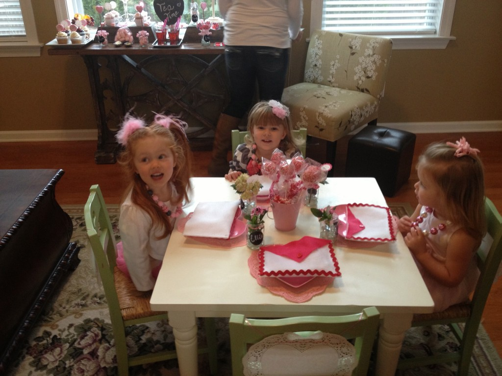 The girls enjoying the Valentines Party