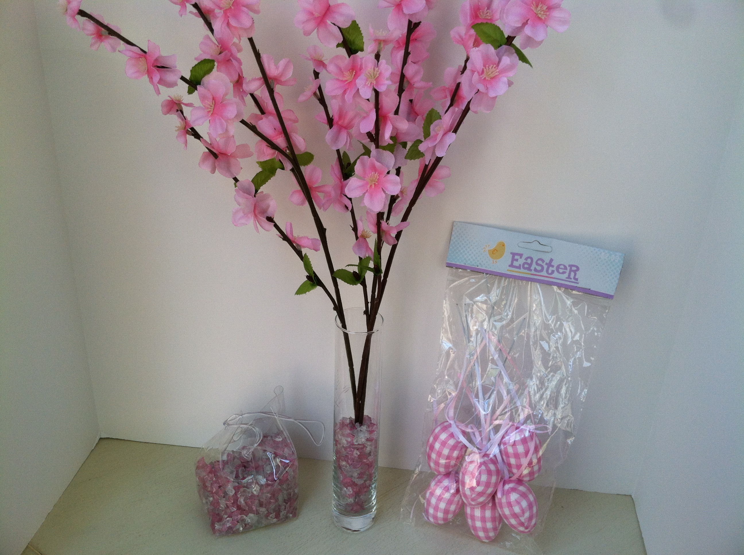 easter spring kitchen dining room decorating ideas gather marbles plastic eggs and cherry branches