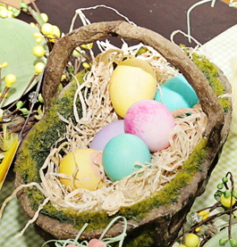 Add Dyed Eggs To Mossy Basket