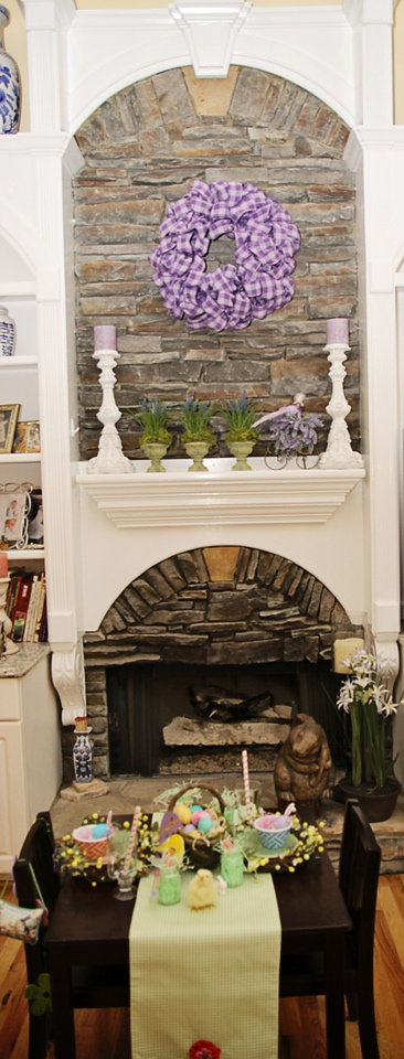 Make Purple & White Easter Wreath - Decorate Fireplace Mantel