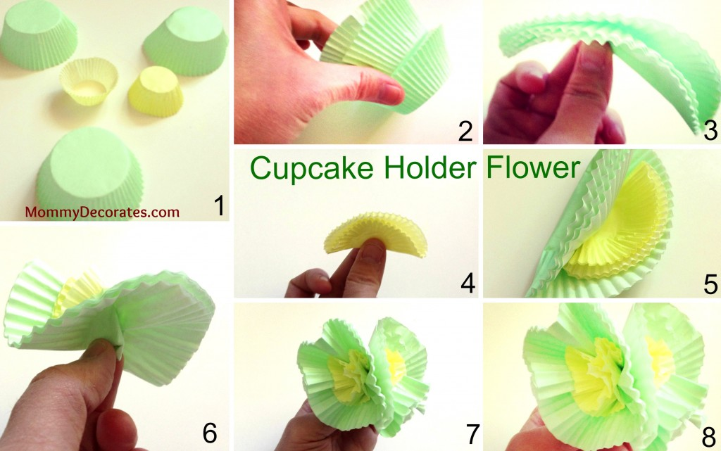 Green Cupcake Holder Flower Collage