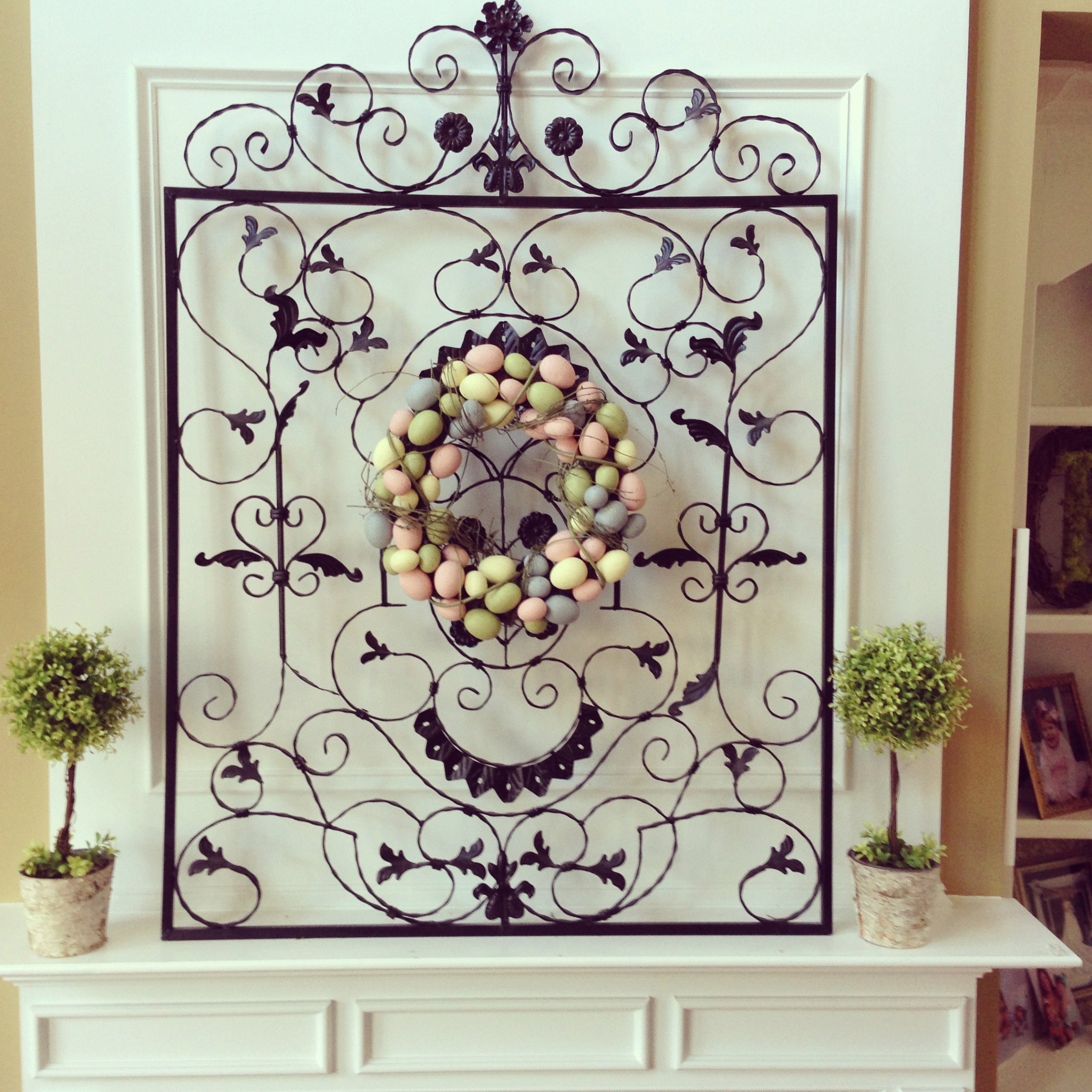 Fireplace Mantel Decorated For Easter