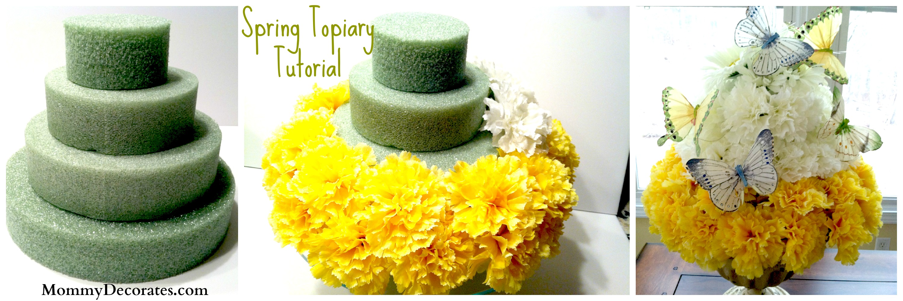How to make a spring flower cake a quick and easy tutorial spring topiary how to make one 3 pictures mightylinksfo