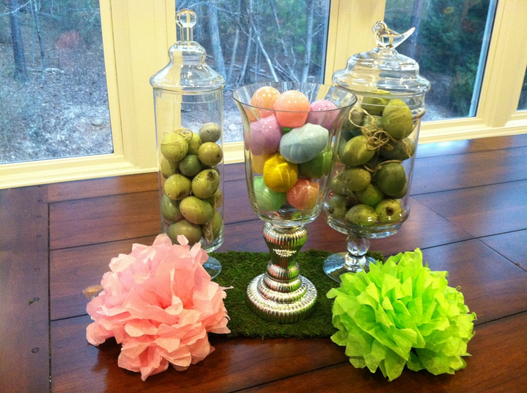 Pom Poms on the table