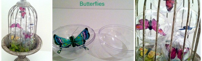 DIY Spring Decor Using Butterflies And Clear Plastic Christmas Ornaments