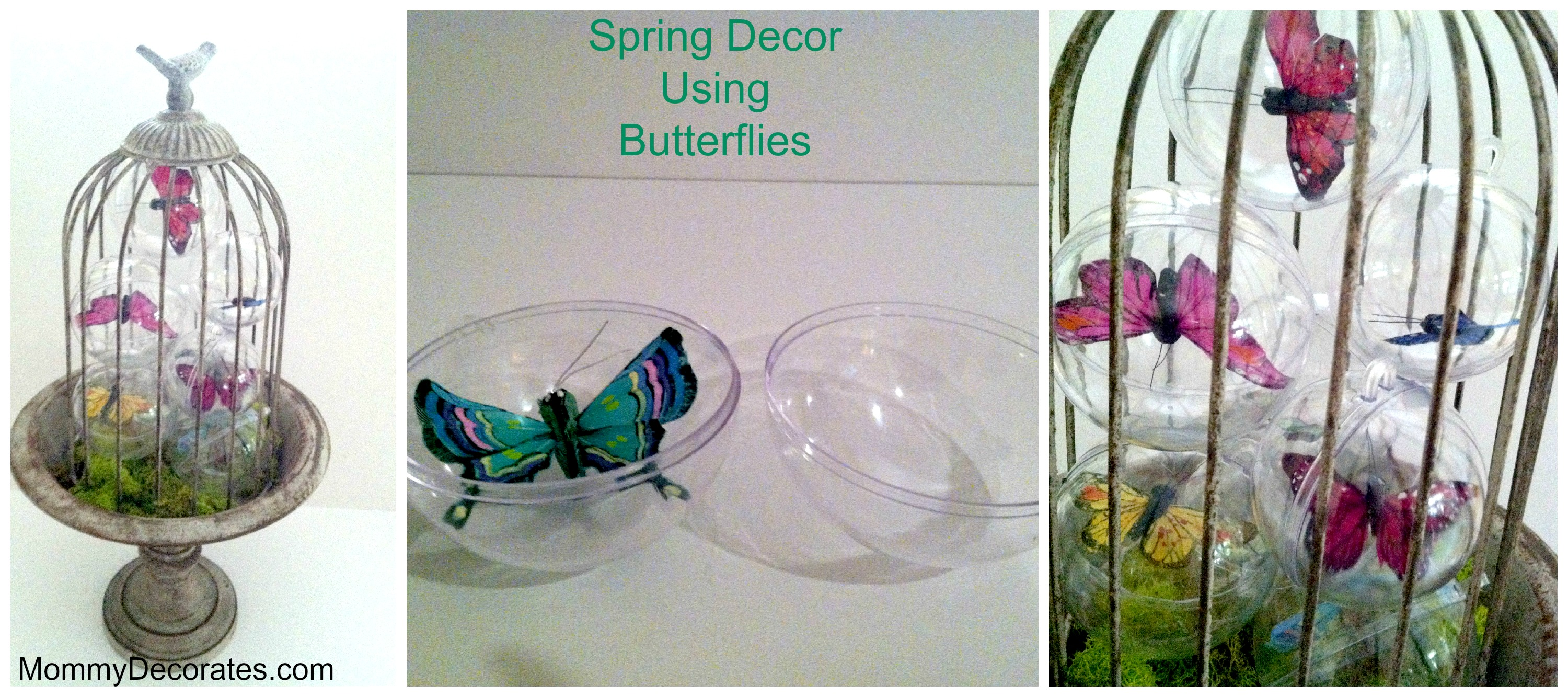 Diy spring decor using butterflies and clear plastic for Butterfly decorations for home