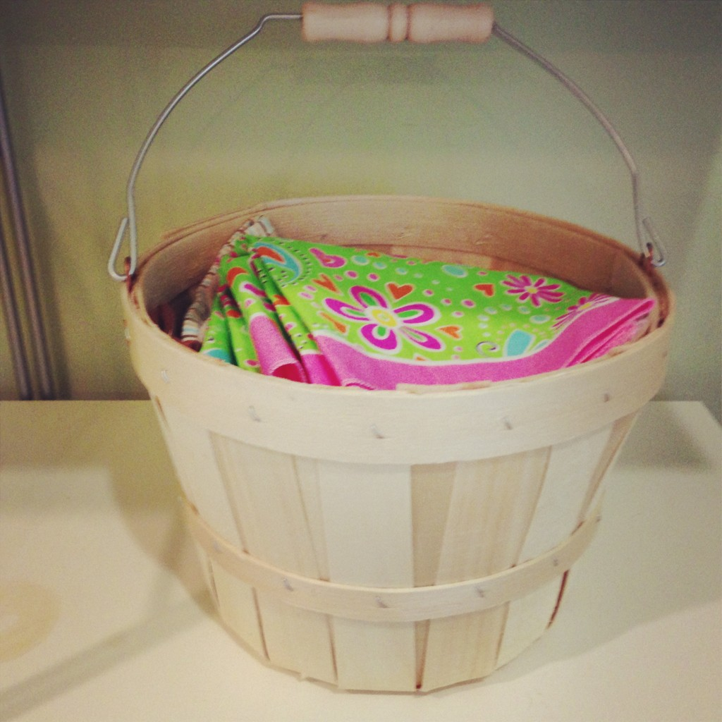 Cute little basket holding fabric