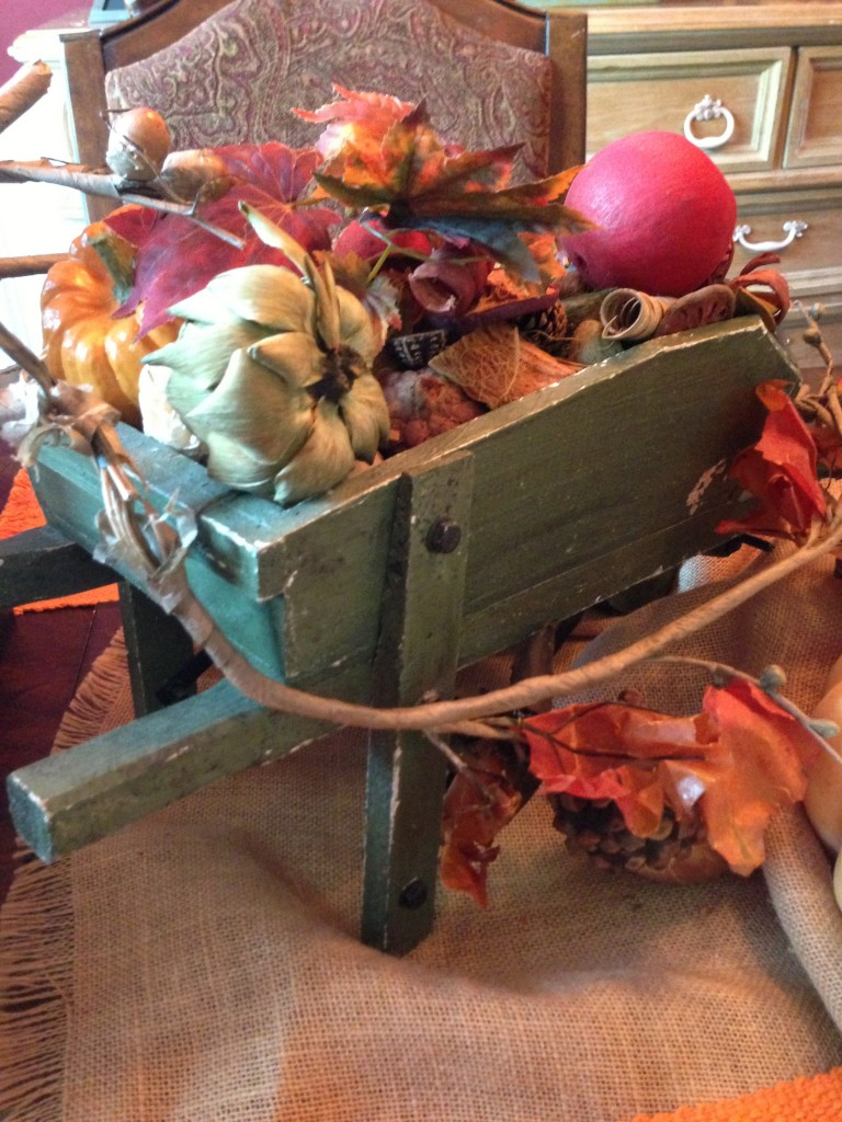 Mini Fall Wheel-barrel Filled With Gourds