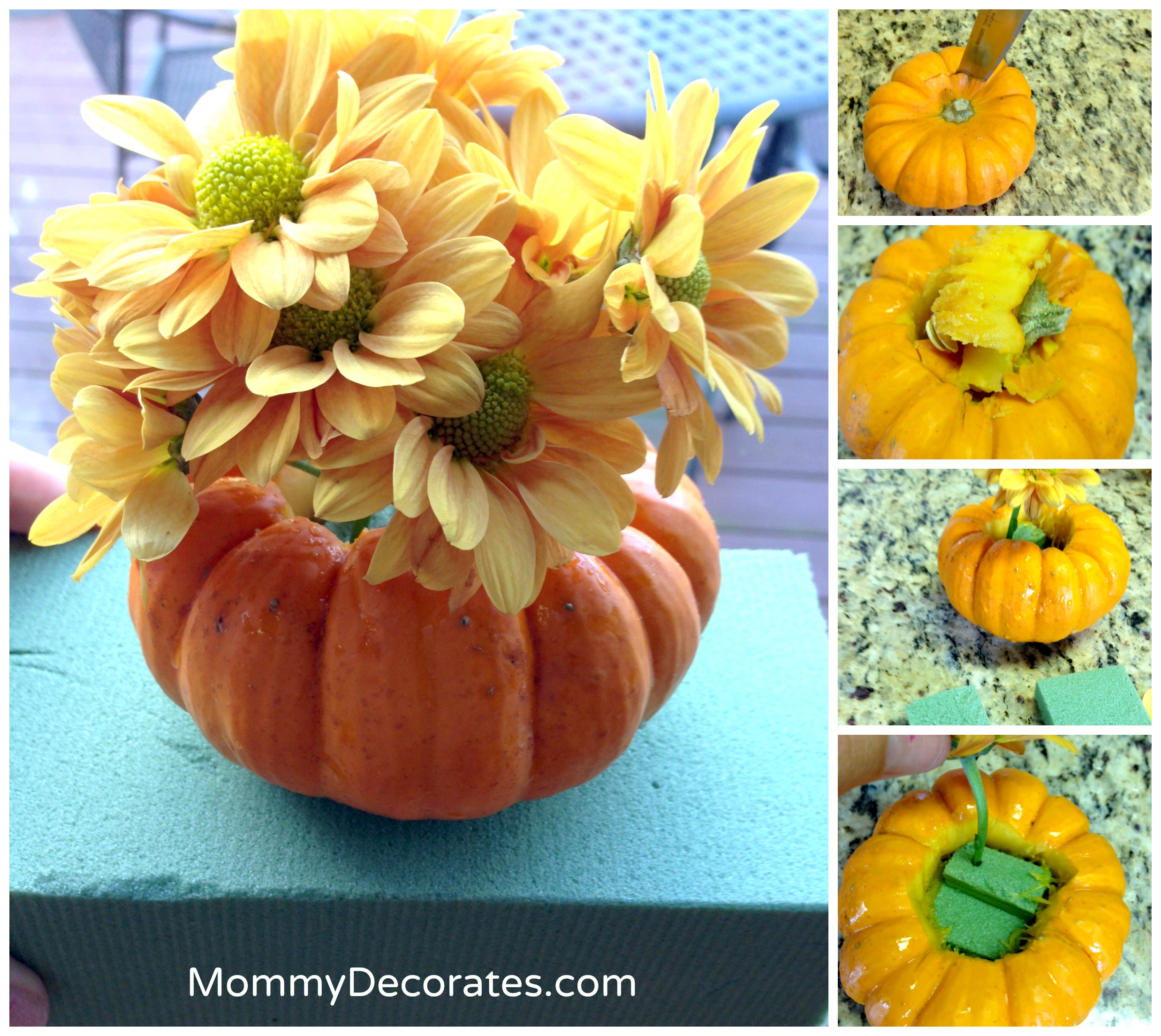 Easy fall party ideas just for mommy 39 s pumpkin centerpiece for Simple pumpkin centerpieces
