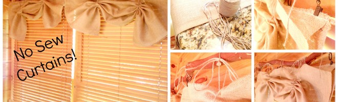Easy DIY No-Sew Window Treatments-Curtains And Burlap Bow Chair Cover