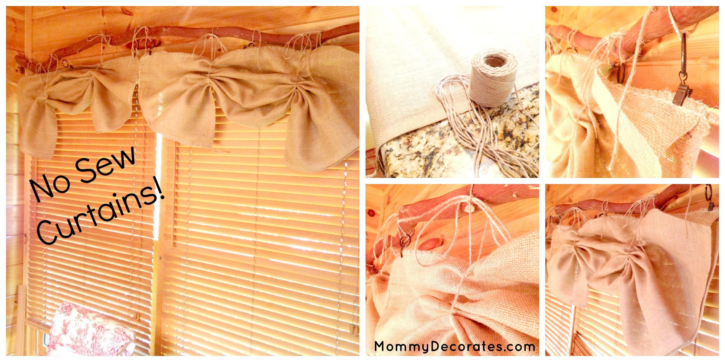 Easy DIY No-Sew Window Treatments-Curtains And Burlap Bow ...