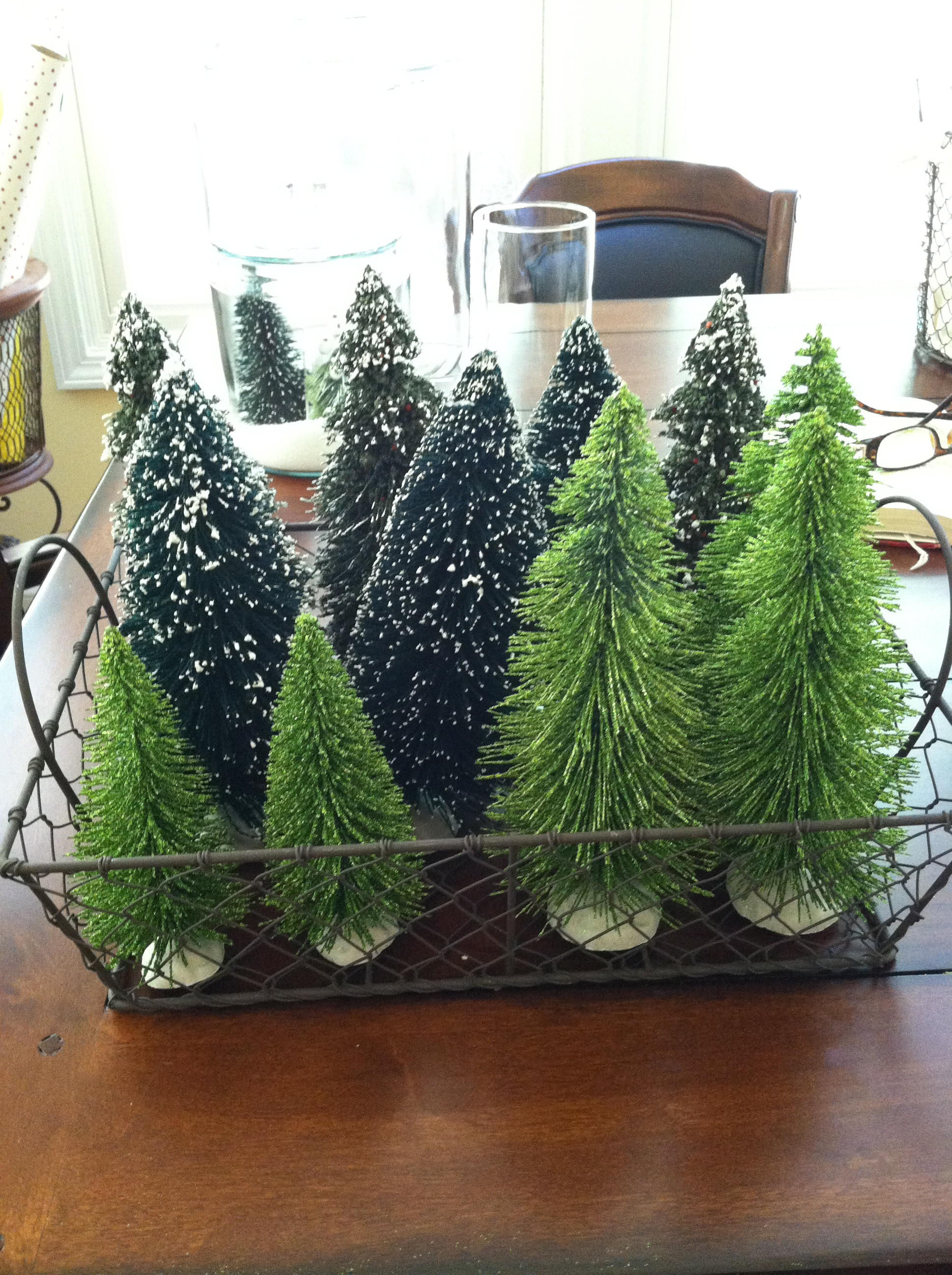 Place Small Christmas Trees In Wired Bread Basket And On Your Kitchen Island Or Side Table